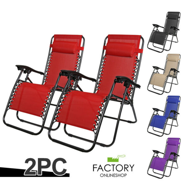 Set of 2 Zero Gravity Chairs Folding Lounge Beach Outdoor Patio Recliner Chair