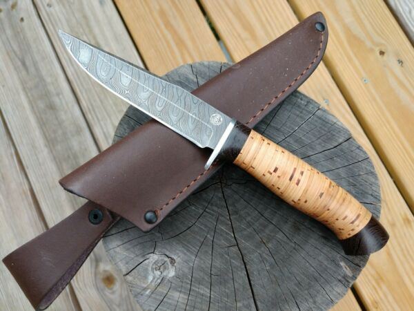 Hunting Knife Custom RUSSIAN Handmade Knife Sokol DAMASCUS Birch Bark Handle
