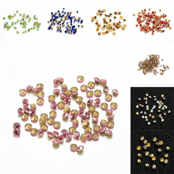 1440pcs Bag Back Plated Faceted Cone Pointed Loose Rhinestones Diamond Tiny 2mm $5.46