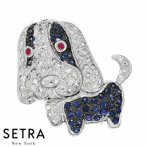 Dog Style Diamond & Ruby Sapphire Fine Necklaces  Brooches 14k Gold
