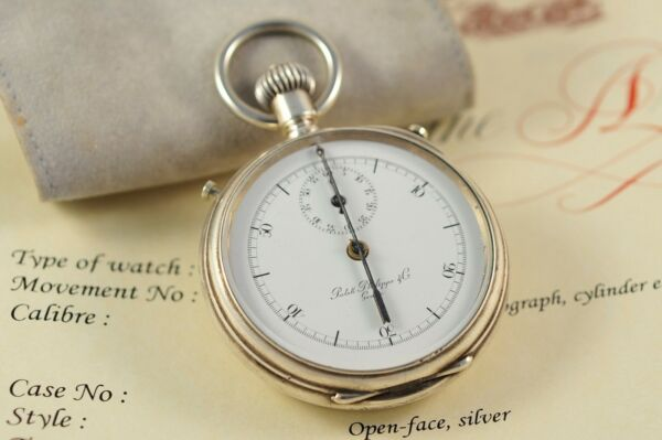 Patek Philippe VERY RARE SILVER OPENFACE STOP WATCH CHRONOGRAPH INK HAND 1879