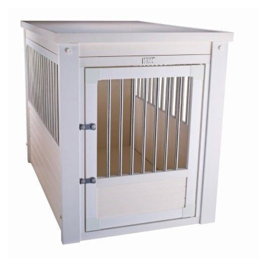Large Pet Crate Cage End Table Dog House White Home Indoor Gate Living Room