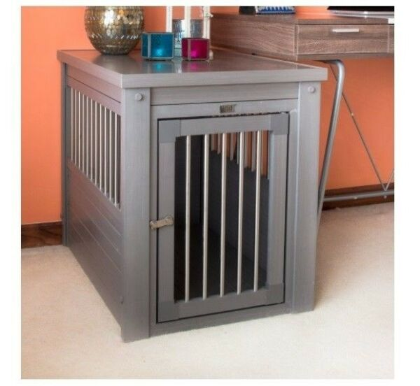 Large Pet Crate Cage End Table Dog House Gray Home Indoor Gate Living Room