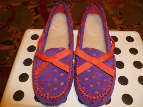 New I Love UGG Girls Shoes/Loafers Sued Wool Insoles Purple/Red size 4, 9