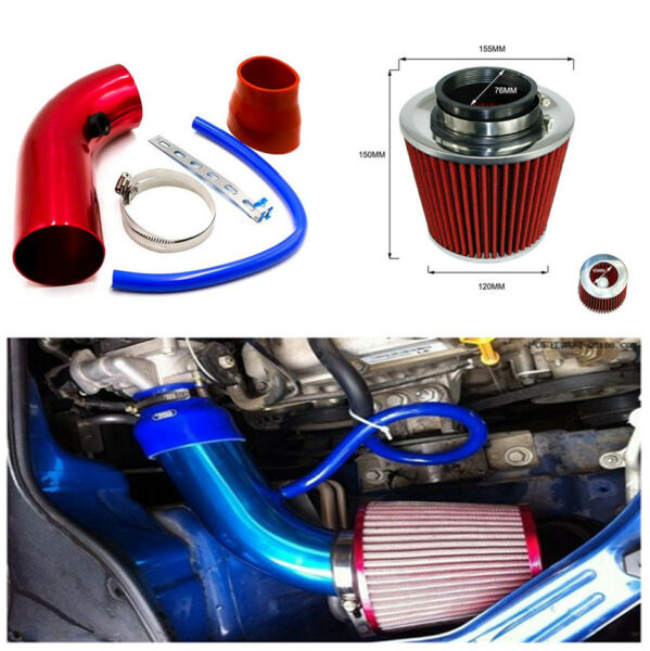 Durable Car Air Intake Kit Red Pipe+Cold Air Intake Filter+Clamp Attractive Set