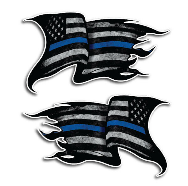 2x Thin Blue Line Sticker Tattered American Flag Decal Police Lives Matter Yeti $5.99