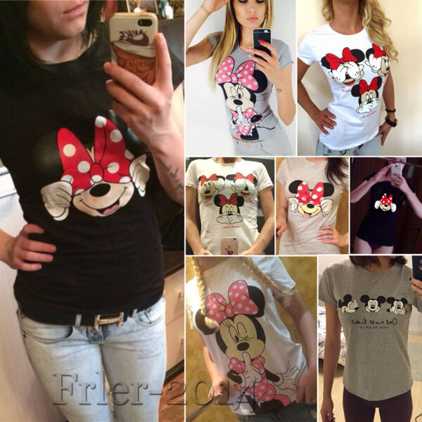 Women's Mickey Minnie Mouse Casual T-Shirt Short Sleeve Blouse Slim Fit Tee Tops
