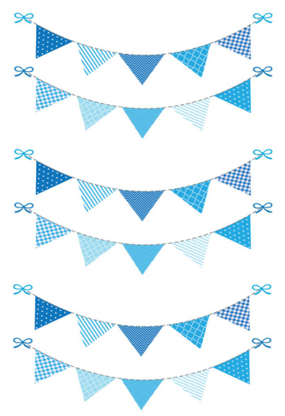 Blue Bunting Cake Topper Edible Wafer Paper A4 Sheet Baby Showers Weddings