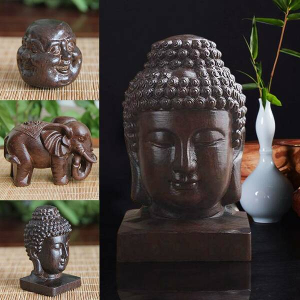 Wood Carved Statue Nature Buddhism Happy Buddha Elephant Sculpture Pendant Decor