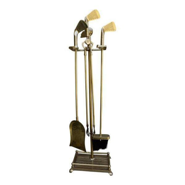 Brass Golf-Theme Fireplace Tool Set