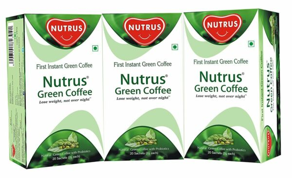 Nutrus Green Coffee 20 Sachets - Pack Of 3 (Instant Powder Form For Weight Loss)