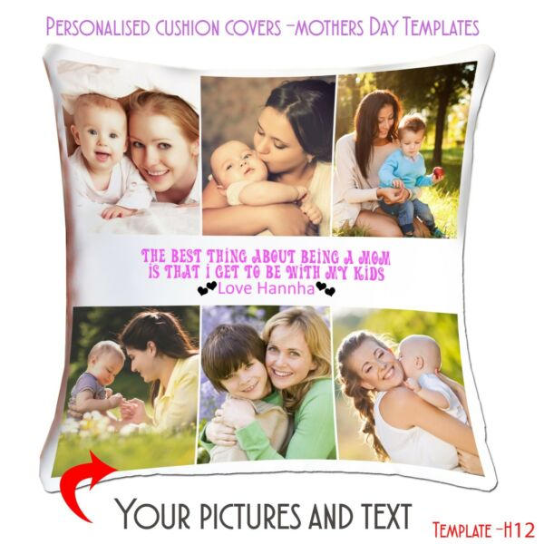 Personalised Custom Cushion Cover Mothers Day Love Picture Collage Template MHC GBP 11.45