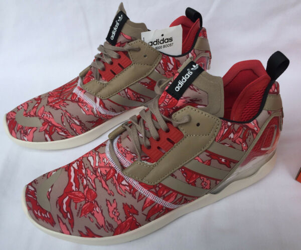 Adidas ZX 8000 Boost B26365 Khaki Red Camo Marathon Running Shoes Men's 10.5 new