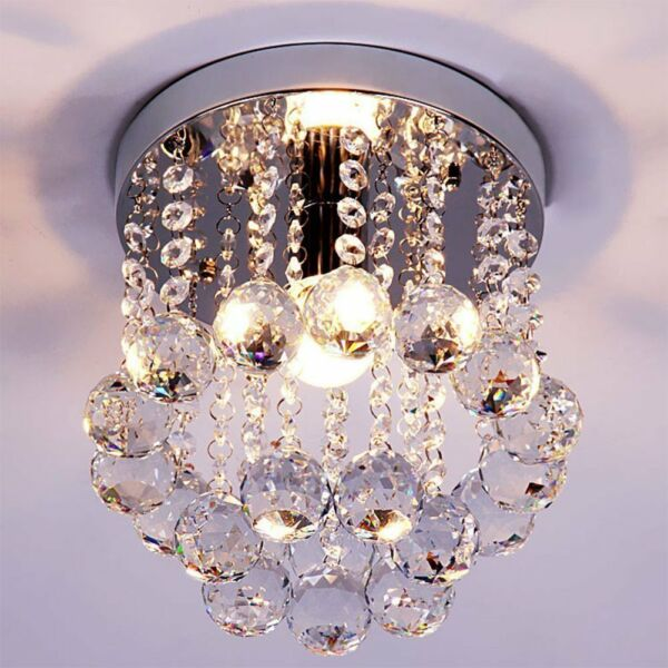 Flush Mount Crystal Chandelier Ceiling Modern Fixture Lamp Mini Home Decor Light