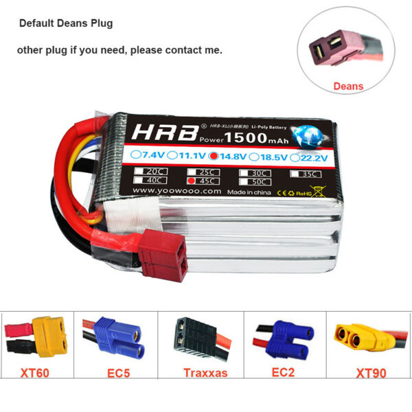 HRB 14.8V 1500mAh 4S RC LiPo Battery 45C 90C for FPV Helicopter Airplane Drone