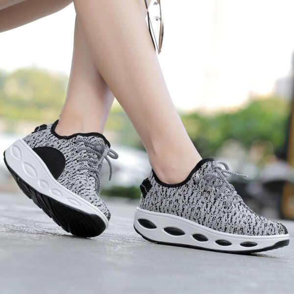 Women's Platform Shoes Shape Ups Toning Fitness Sports Lace UP  Walking Sneakers