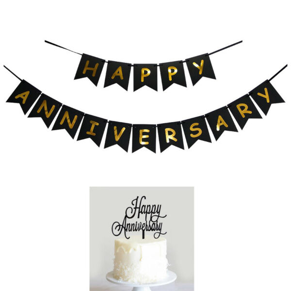 happy anniversary banner bunting amp; cake topper for anniversary party decoration