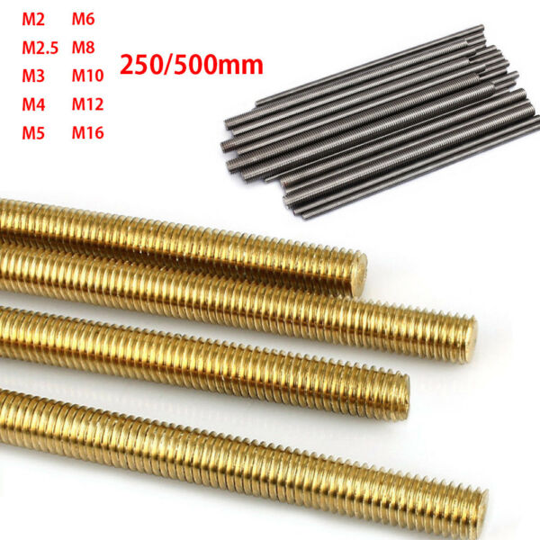 2X Threaded Rod Screw Full-Threaded M2 M2.5 M3 M4 M5 M6 M8 M10 M12 M16 250500mm