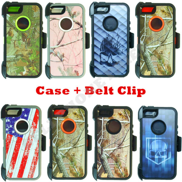 Camo For Apple iPhone 5 5S SE Defender Case Cover with Belt Clip Fits OtterBox