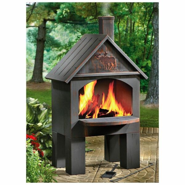 Outdoor Fireplace Kits Pit Grate Chiminea Wood Stove Oven Patio Grilling Steel