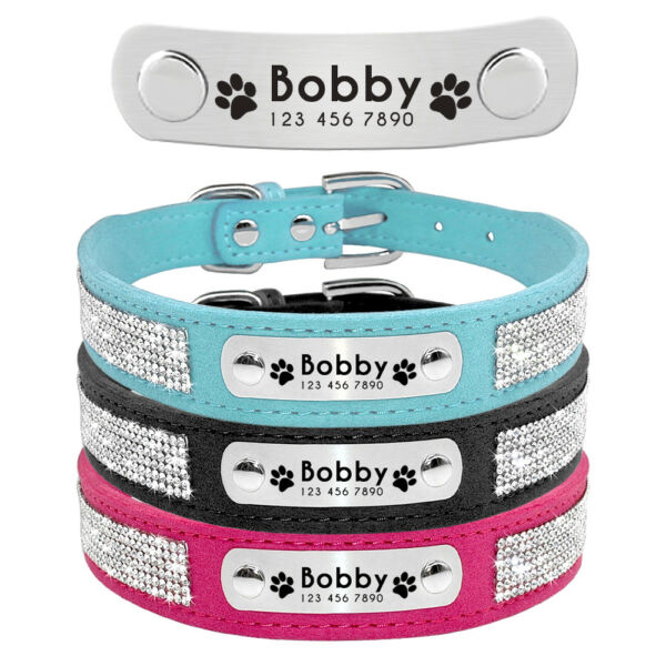 Rhinestone Personalized Dog Collars Engraved Pet Cat Puppy ID Name Collar XS L $9.99