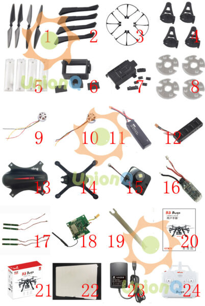 All spare parts for Bugs 3 mjx B3  quadcopter blade battery cover
