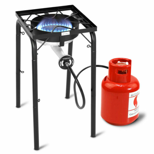Portable Propane 200000-BTU Single Burner Outdoor Camp Stove w Adjustable Legs