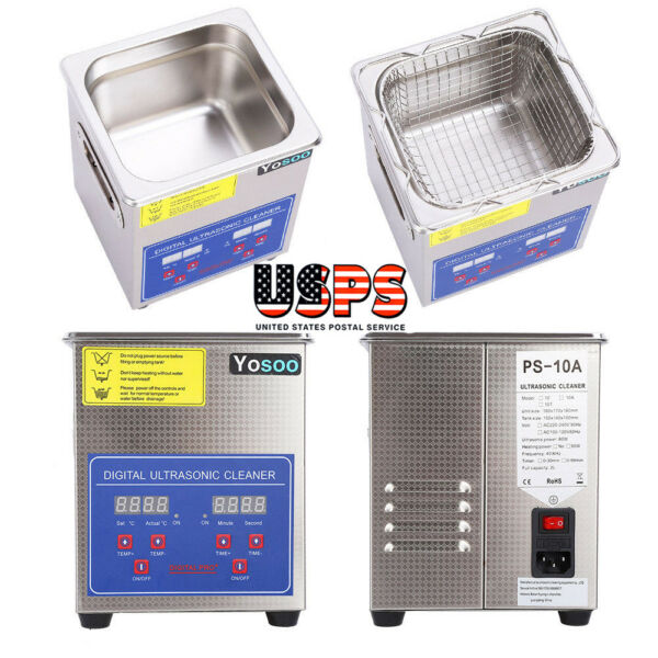 60W/110V Ultrasonic Cleaner 2L Stainless Steel Industry Heated Heater Tank Timer