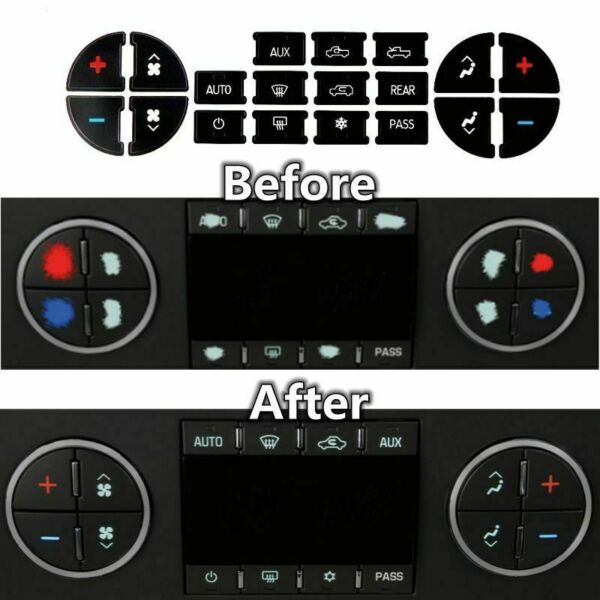 AC Dash Button Repair Kit Decal Stickers Replacement for Chevrolet GMC Tahoe