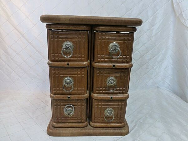 Vintage Wood Treadle Sewing Notions Cabinet 6 Drawers Crafting Box