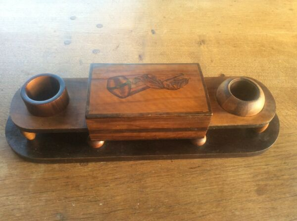 Inlaid Black Forest Swiss Marquetry Wooden Pipe Tobacco Smokers Compendium Box