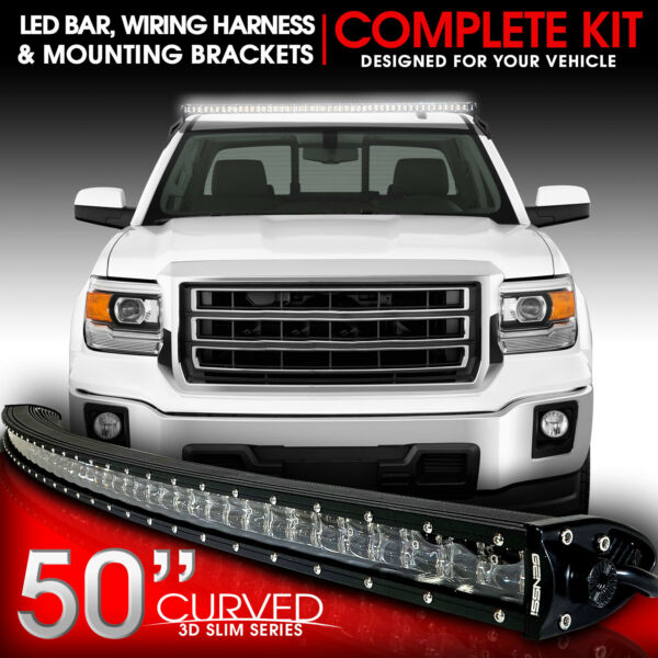 For GMC Sierra 1500 2014 to 2015 50 Curved LED Light Bar Mount Bracket amp; Wiring