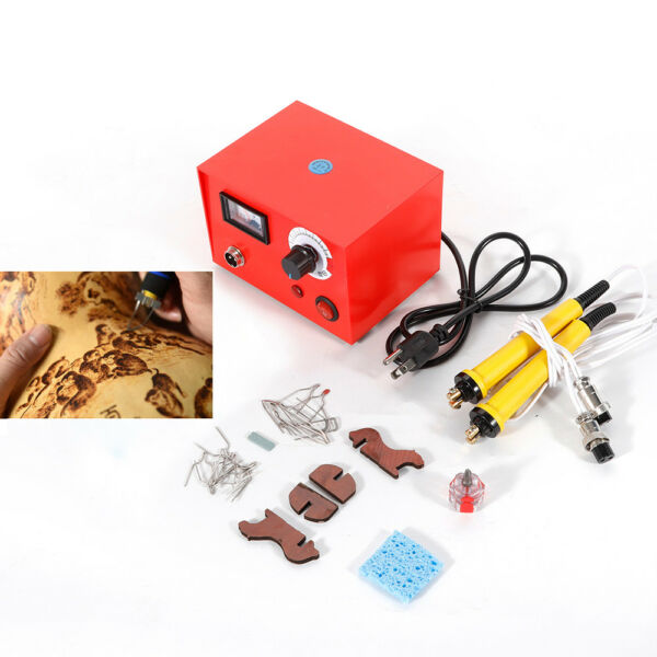 110V Pyrography Machine Gourd Wood Burning Pens Crafts Tools Kit Steel Case New