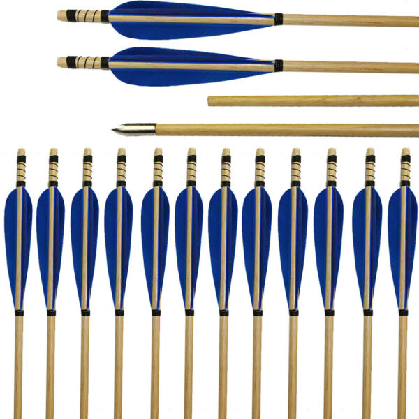 6 12 Pack Archery Hunting Wood Arrows Blue Fletching Feather Recurve Bow Longbow $42.74