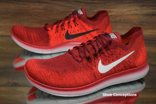 Nike Free RN Flyknit 2017 Team Red 880843-600 Running Shoes Men's Multi Size