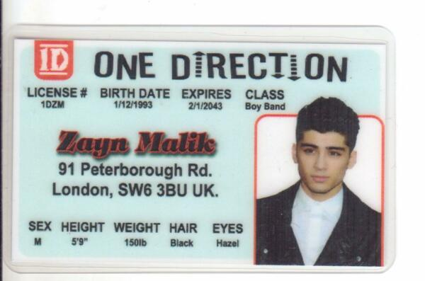 Zayn Malik ONE DIRECTION novelty plastic collectors card Drivers License
