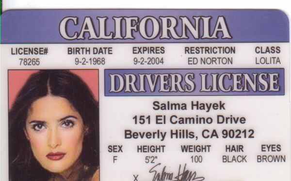 Salma Hayek of ZORRO  Dogma  Wild Wild West  Drivers License selma