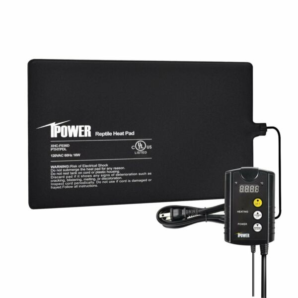 iPower 8quot;x12quot; Under Tank Heat pad and Digital Thermostat Combo Set for Reptiles $36.99