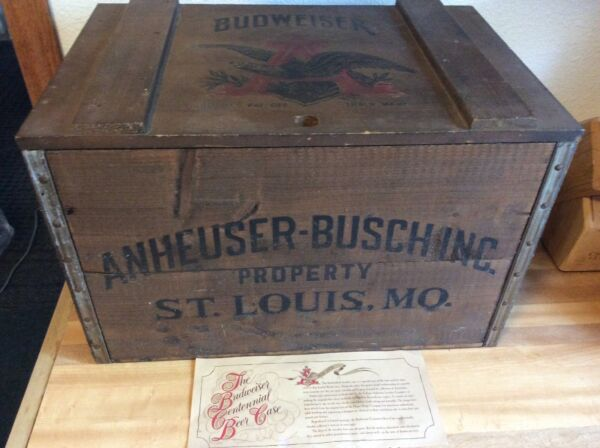 Vintage BUDWEISER ANHEUSER BUSCH CENTENNIAL WOODEN BEER CRATE With Certification