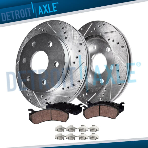 Front Drilled & Slotted Brake Rotors w Ceramic Pads 2007-19 Chevy Cadillac GMC