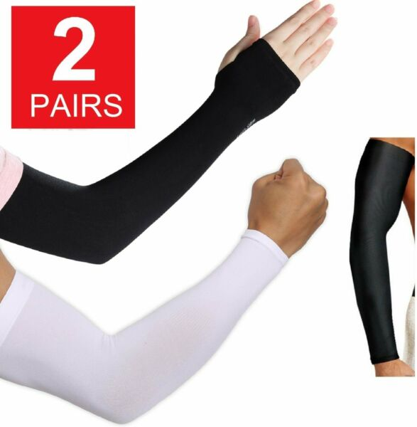 2 Pair Unisex Outdoor Sports Cooling Arm Sleeves Cover UV Sun Protection