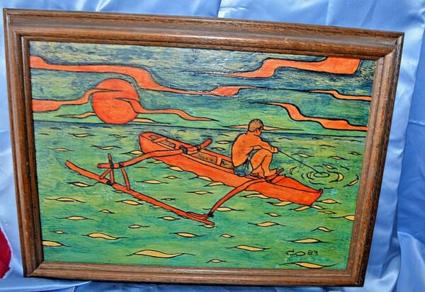 Vintage Original Painting on Board Signed CO 8 South Pacific Native MAN Fishing