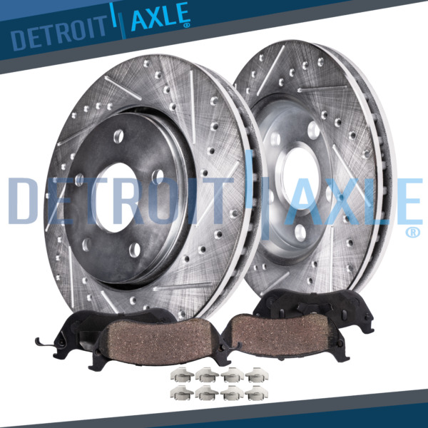 Front Drilled & Slotted Brake Rotor + Ceramic Pad Subaru Forester Legacy Impreza