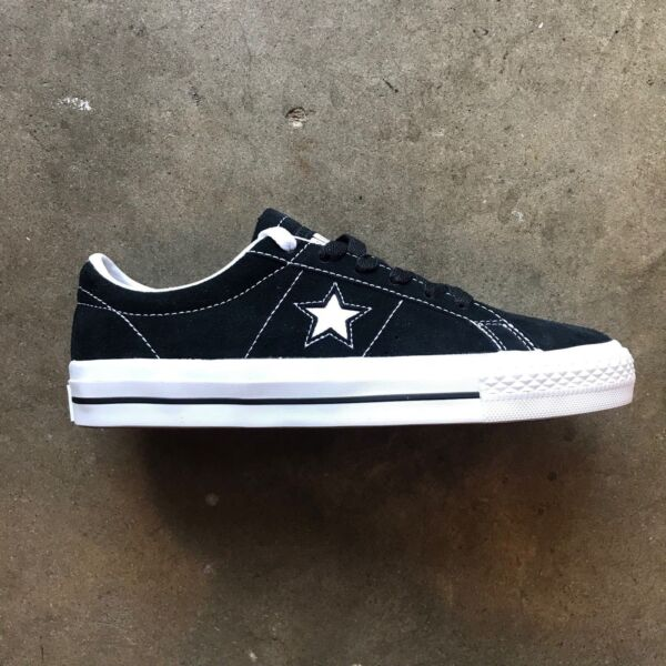 CONVERSE ONE STAR PRO OX SUEDE (BLACK/WHITE/WHITE) SIZE: 6-12 --FAST SHIPPING--