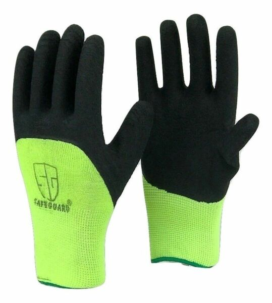 5 Pairs Safeguard High Visible Green Knit Latex Palm Coated Nylon Work Gloves