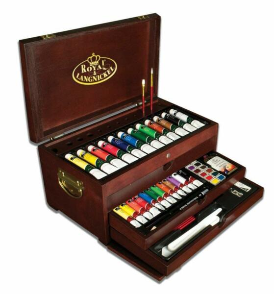 Art Set For Adults Wooden Supply Box Storage Acrylic Watercolor Paint Chest 80 P