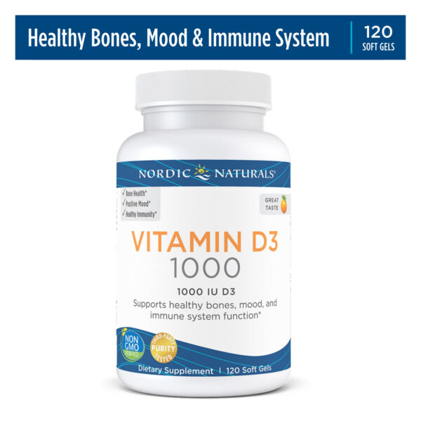 Nordic Naturals Vitamin D3 Daily Vitamin D3 For Bone Health Orange 120 Ct $14.41