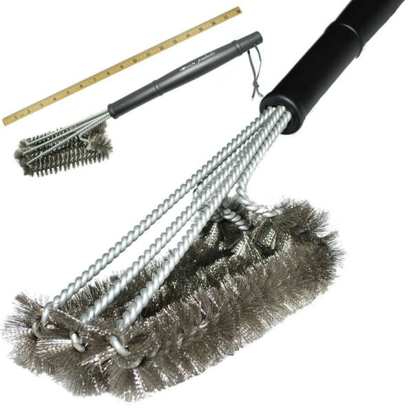 18quot; BBQ Cleaning Grill Brush Cleaner Stainless Steel Kitchen Wire Barbecue Brush
