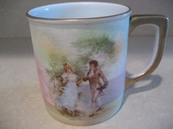 Tapestry Cup Royal Bayreuth Coffee Mug Portrait of Courting Man Woman Gold Trim