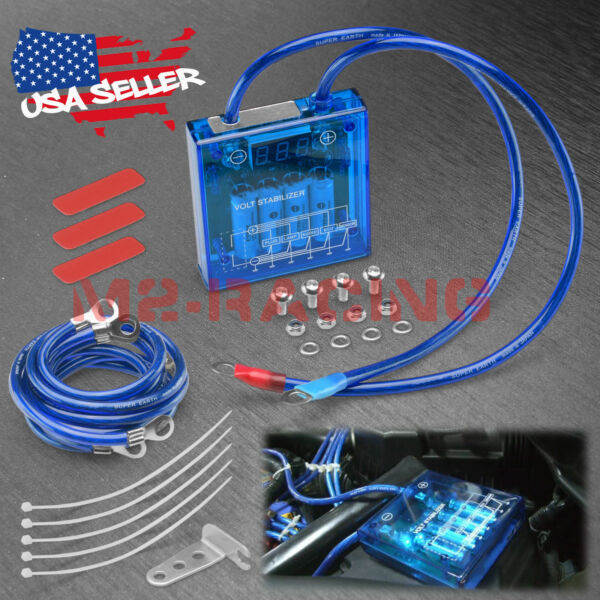 Universal Car Battery Blue Voltage Stabilizer Regulator Ground Power Efficiency